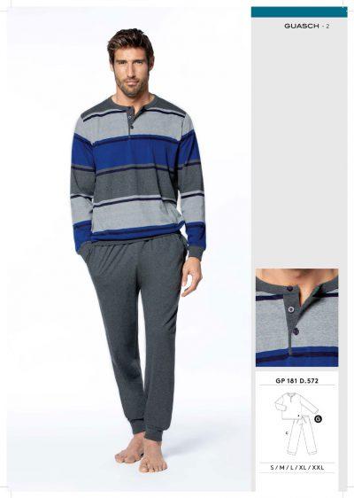 Comprar online Pijama algodón con puños de hombre Guasch GP181 572