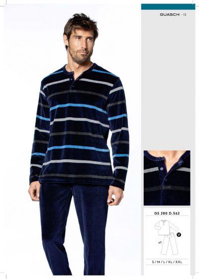 Comprar online Pijama hombre terciopelo y tapeta Guasch GS280 562