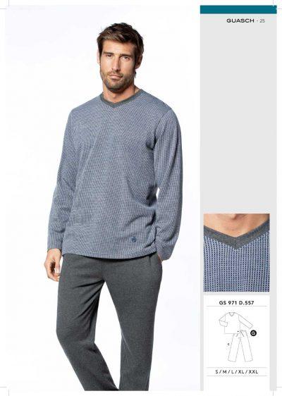 Comprar online Pijama hombre cuello pico Guasch GC971 557