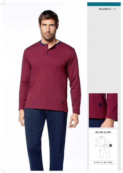 Comprar online Pijama hombre Guasch camiseta jersey jacquard GS981 559