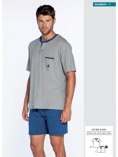Pijama de verano corto con cuello tapeta Guasch GT161 590