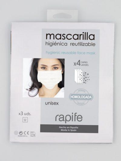 Mascarillas adulto higiénicas reutilizables y homologadas Rapife comprar online en pack de 3 unidades