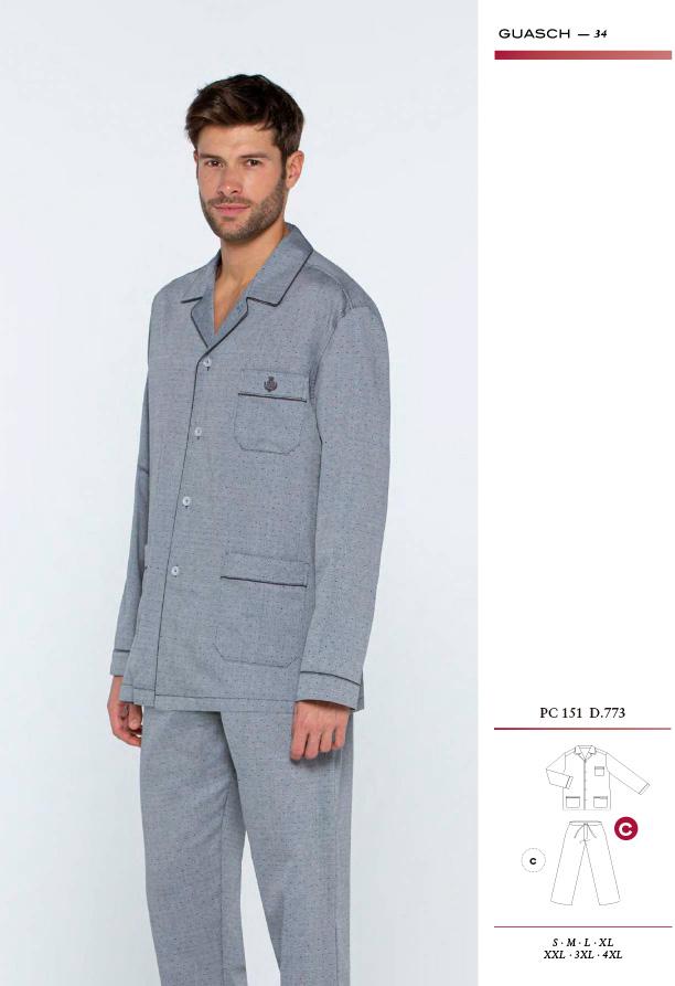 Comprar online pijama de tela de hombre Guasch PC151 D.773 en color gris