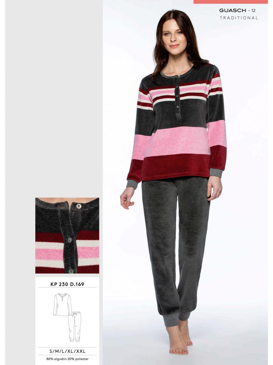 Comprar Pijama Guasch Mujer KP230 D.169 Terciopelo y Puños en camiseta y pantalón